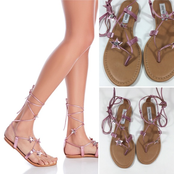 d147c4efebc4 STEVE MADDEN Pink Star Lace Up Gladiator Sandals